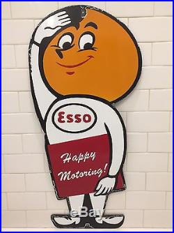 Vintage Esso Happy Motoring Gasoline Oil Gas Pump Plate Porcelain Metal Sign