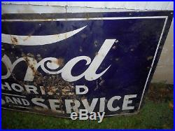 Vintage FORD SALES AND SERVICE Auto Car Gas Oil PORCELAIN ADVERTISING SIGN