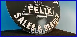 Vintage Felix Cat Chevrolet Porcelain Bow-tie Gas Trucks Service Station Sign