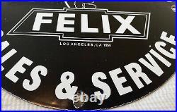 Vintage Felix Chevrolet Porcelain Sign Sales & Service Car Dealership Gas Oil