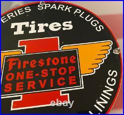 Vintage Firestone One-stop Service Porcelain Sign Tires Spak Plugs Batteries Gas