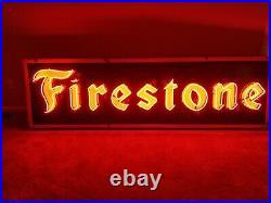 Vintage Firestone Tires Porcelain Neon Sign gas station advertising oil auto