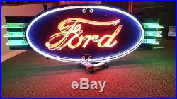 Vintage Ford Double Sided Porcelain Dealership Neon Sign Gas Oil Chevy