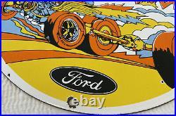 Vintage Ford Muscle Power Porcelain Dealership Sign Motor Oil Gasoline Chevrolet