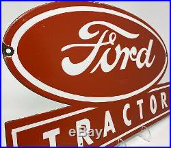 Vintage Ford Tractor Porcelain Sign Farm Oil Gas Station Ih John Deere Cat Chevy
