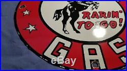 Vintage Frontier Gasoline Porcelain Sign Gas Metal Service Station Pump Plate Ad