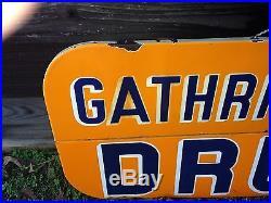 Vintage GATHRIGHT-REED DRUGS, Porcelain Sign. Oxford Mississippi, Historical Square