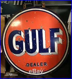 Vintage GULF Gas Station DEALER 66 PORCELAIN DOUBLE SIDED ROUND SIGN W Bracket