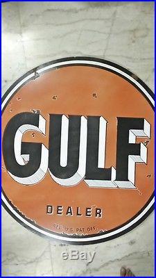 Vintage GULF Porcelain Enamel 48 Heavy 2 Sided Gasoline Oil Rare Pump Sign