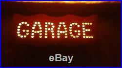 Vintage Garage lighted tin punched sign pre neon not porcelain
