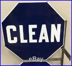 Vintage Gas Station Clean Rest Rooms Double Sided Porcelain Enamel Flange Sign