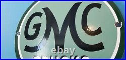 Vintage General Motors Porcelain Gas Gmc Auto Trucks Sales Service Dealer Sign