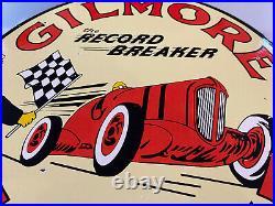 Vintage Gilmore Gasoline 11 3/4 Porcelain Metal Gas & Oil Sign Pump Plate