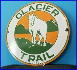 Vintage Glacier National Park Porcelain Gas National Forest Trail Hiking Sign