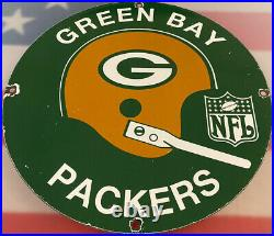 Vintage Green Bay Packers Porcelain Stadium Sign Wisconsin NFL Lambeau Field