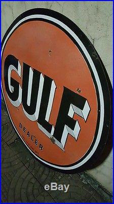Vintage Gulf Dealer Double Sided Porcelain Sign Large 42