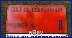Vintage Gulf Oil Corporation Porcelain Oil Well Lease Gas Sign