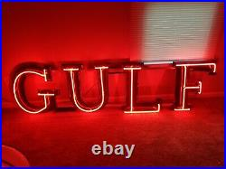 Vintage Gulf Oil Porcelain Neon Sign gas station advertising lighted auto