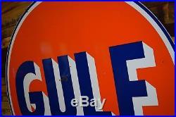 Vintage Gulf Porcelain Sign 1960 Oil Advertising Gas Station Porsche Ford Racing