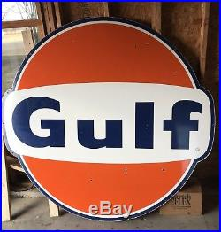 Vintage Gulf Porcelain Sign 60's Oil Advertising Gas Station Over 6' Nice Cond