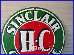 Vintage H-C Sinclair Gasoline Porcelain Double Sided Sign 6