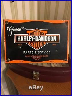 Vintage Harley Davidson Motorcycle Porcelain Auto Gas Bike Service Station Sign