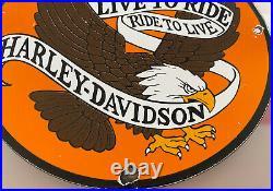 Vintage Harley Davidson Porcelain Sign Gas Station Motor Oil Indian Eagle Hog