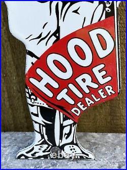 Vintage Hood Tire Dealer Porcelain Metal Sign Die Cut Service Station Man Guard