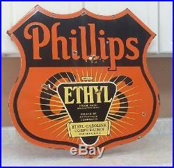 Vintage Huge Double Sided Phillips 66 Porcelain Ethyl Gas Oil Station Sign 30