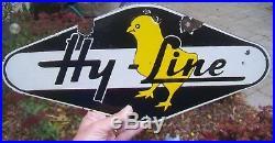 Vintage Hy-line Chix Chicks Chicken 2-sided Porcelain Hatchery Farm Sign