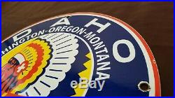 Vintage Idaho Gasoline Porcelain Gas Chief Service Station Pump Plate Sign