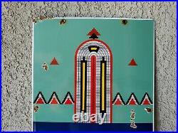 Vintage Indian Gasoline porcelain gas pump plate advertising sign
