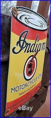 Vintage Indian Motorcycle Oil Can Porcelain Sign Service Station Dealer Gas
