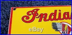 Vintage Indian Motorcycle Porcelain Gas Chief Service Station Pump Plate Sign