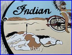 Vintage Indian Motorcycles Porcelain Sign, Dealership, Motor Bike Harley Gas Oil