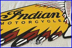 Vintage Indian Motorcycles Porcelain Sign, Dealership Motor Bike Harley Gas Oil
