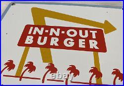 Vintage Innout Burger Porcelain Sign, Pump Plate, Oil, Grocery Store, Mcdonalds