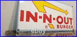 Vintage Innout Porcelain Gas Burger Coca Cola California Fast Food Service Sign