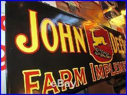 Vintage John Deere Farm Implements Porcelain Enamel Dealership Sign