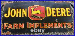 Vintage John Deere Porcelain Sign USA Oil Gas Pump Petroliana Farm Tractor Deer