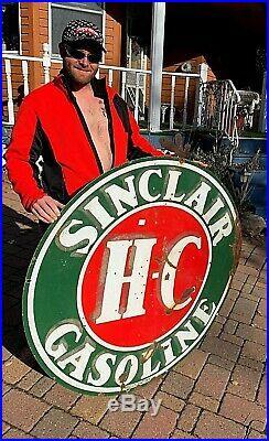 Vintage LG 48in Porcelain HC Sinclair Oil Gas Gasoline Sign Service Station 2sid