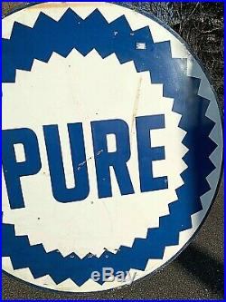 Vintage LG 6Ft Porcelain Pure Oil Gas Gasoline Sign 2sided Service Station