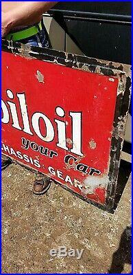 Vintage LG Porcelain Mobil Oil Gas Grease Gasoline Sign Mobiloil 60X36