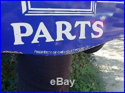 Vintage Large Genuine Chevrolet Parts Porcelain Sign Double Sided 24 X 18