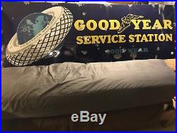 Vintage Large Goodyear Service Station Porcelain Oil & Gas Transportation Sign