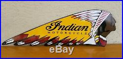 Vintage Large Indian head Motor Cycle Porcelain Dealership Advertising Sign