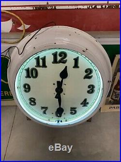 Vintage Large Porcelain NEON Shop Clock GAS OIL SODA COLA 29 x 29 x 7 STORE