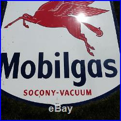 Vintage Lg 6 Ft Mobilgas Pegasus Socony Vacuum Porcelain Metal Advertising Sign