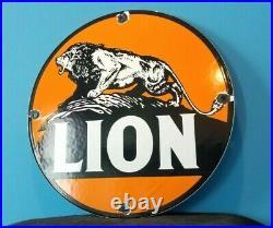 Vintage Lion Gasoline Porcelain Gas Motor Oil Auto Service Station Pump Sign