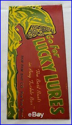 Vintage Lucky Lures Fishing Porcelain Sign Advertising Paw Paw Michigan